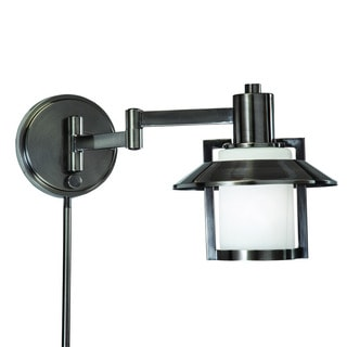 Transitional 1-light Antique Pewter Swing Arm Pin-up Plug-in Wall Lamp