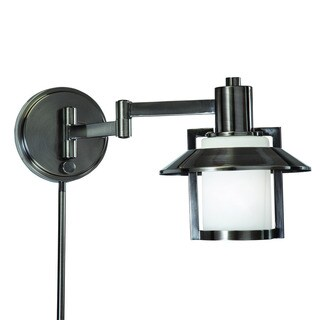 Porch & Den Spenard Cambridge 1-light Antique Pewter Swing Arm Pin-up Plug-in Wall Lamp