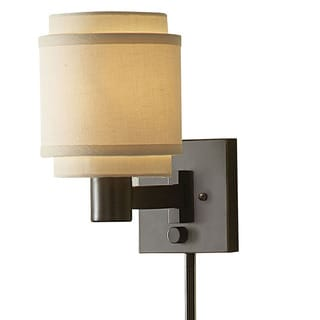 Transitional 1-light Oil Rubbed Bronze Swing Arm Pin-up Plug-in Wall Lamp