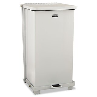 Rubbermaid Commercial White 12gal Defenders Biohazard Step Can