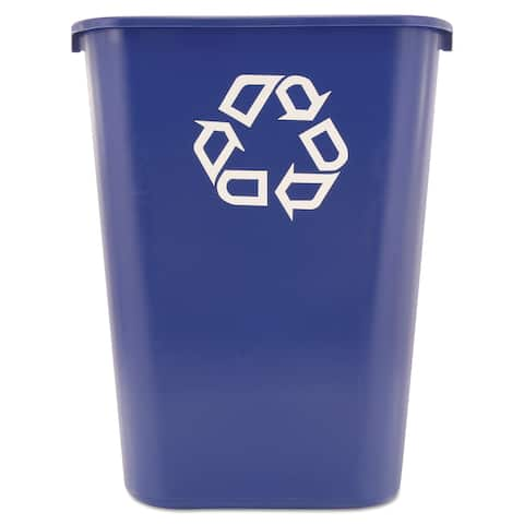 Rubbermaid Commercial Blue Large Deskside Recycle Container w/Symbol