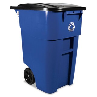 Rubbermaid Commercial Blue 50gal Brute Recycling Rollout Container