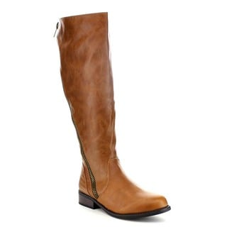Bamboo Pilot-19 Women's Counter Moto Stitching Side Zipper Knee-high Riding Boot