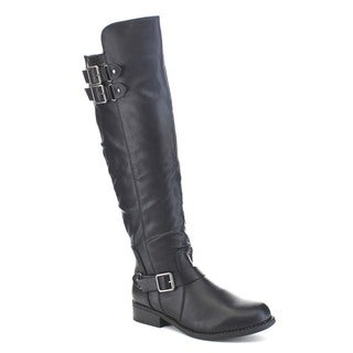 Beston Ba28 Women's Stacked Chunky Heel Three Buckle Strap Knee-high Riding Boot