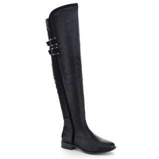 Beston Ba27 Women's Trim and Double Strap Hardware Trendy Over-the-knee Boots
