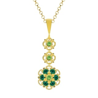 Lucia Costin Silver Light Green Dark Green Crystal Pendant