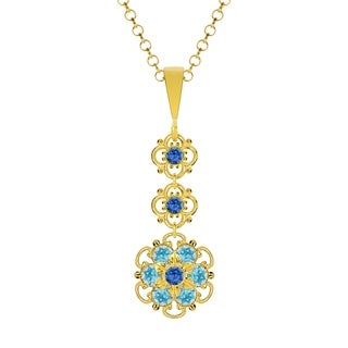 Lucia Costin Silver Blue Light Blue Crystal Pendant