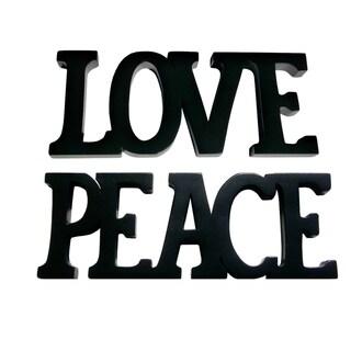 Handmade D-Art Black Finish Love Peace Decorative Letters (Indonesia)