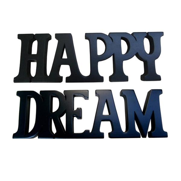 Handmade D-Art Black Finish Happy Dream Decorative Letters (Indonesia)