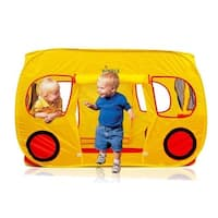 Children's DC11615 Yellow School Bus Design Indoors/ Outdoors Pop Up Play Tent/ Playhouse with Mesh Windows by Dimple