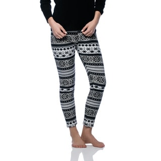 Women's Fleece Lined Navy/ Grey Fair Isle Print Leggings