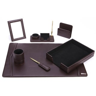 7-Piece Brown Synthetic Leather Desk Set