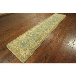 Runner Blue Veg Dyed Oushak Hand-knotted Wool Oriental Area Rug (3' x 12')