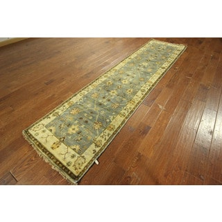 Oushak Hand-knotted Wool Turkish Runner Blue Teal Floral Area Rug (3' x 11')
