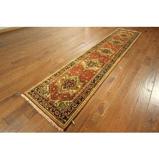 Floral Design Rust Heriz Runner Serapi Hand-knotted Wool Persian Rug (3' x 12')