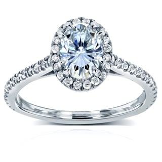 Annello by Kobelli 14k White Gold 1 1/5ct TGW Moissanite and Diamond Traditional Oval Halo Engagement Ring