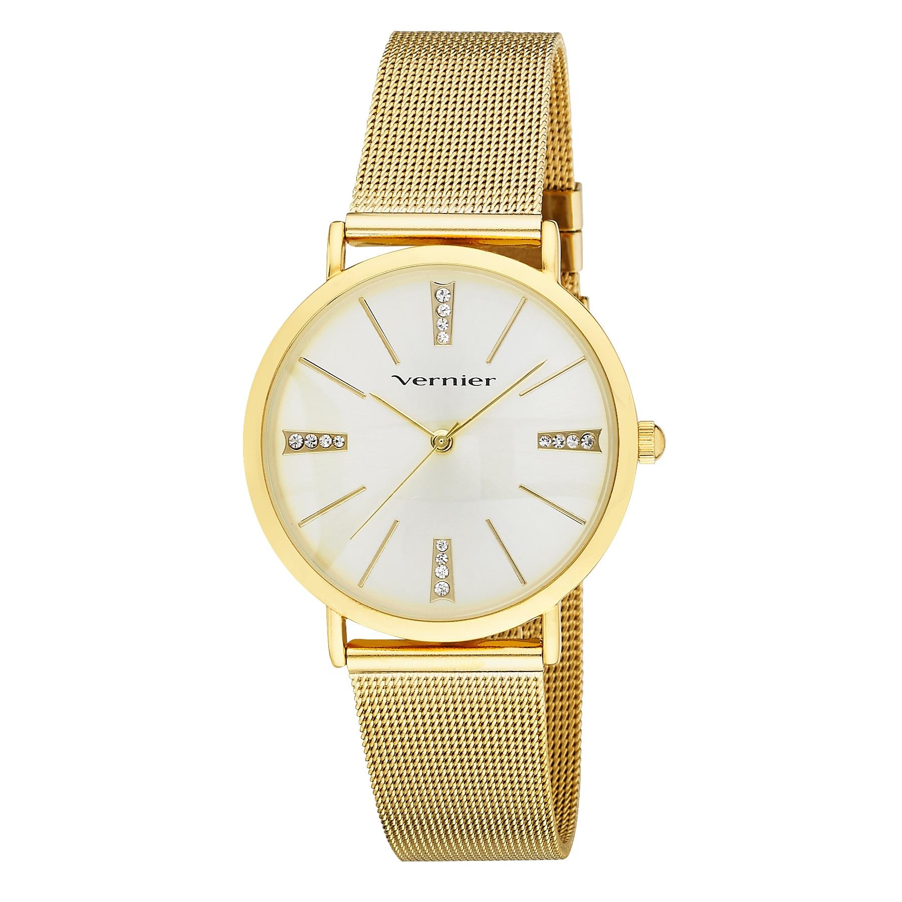 Vernier Software Women's Mesh Band Crystal Marker Watch (...