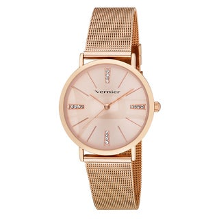 Vernier Women's Mesh Strap Crystal Marker Watch