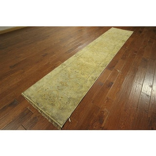Ivory Runner Oushak Hand-knotted Wool Turkish Veg Dyed Oriental Rug (3' x 12')