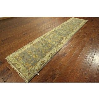 Runner Oushak Hand-knotted Wool Turkish Blue Oriental Area Rug (3' x 12')