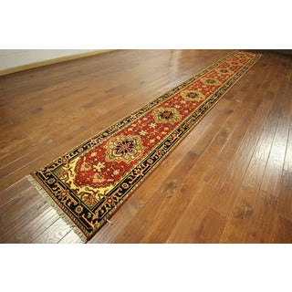 Antiqued Heriz Serapi Runner Hand-knotted Wool Red Persian Rug (3' x 20')