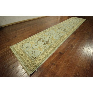 Baby Blue Runner Hand-knotted Wool Oushak Turkish Geometric Rug (4' x 20')