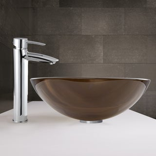 VIGO Sheer Sepia Glass Vessel Sink and Shadow Faucet Set in Chrome Finish
