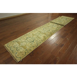 Arrival Ivory Runner Oushak Hand-knotted Wool Oriental Area Rug (3' x 20')