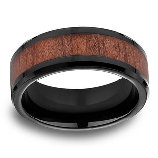 Black Cobalt Men's Rosewood Inlay 8mm Comfort Fit Ring