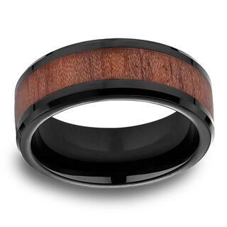 Black Cobalt Mens Rosewood Inlay 8mm Comfort Fit Ring