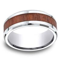 Cobalt Men's Rosewood Inlay 8mm Comfort Fit Ring