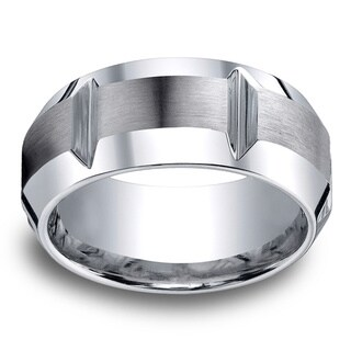 Cobalt Men's 10mm Comfort Fit Gear Cut Ring (More options available)