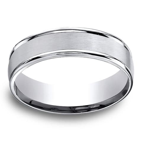 Cobalt Men's Satin Center and High-polish Round Edge 6mm Comfort Fit Ring