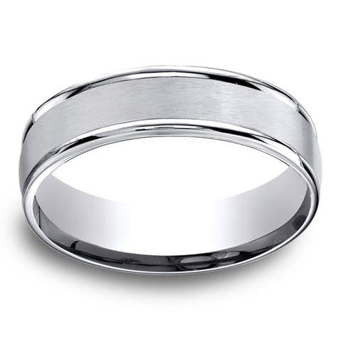 Cobalt Men's Satin Center and High-polish Round Edge 6mm Comfort Fit Ring