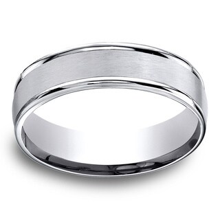 Cobalt Men's Satin Center and High-polish Round Edge 6mm Comfort Fit Ring (More options available)