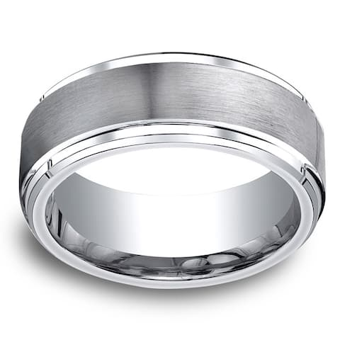 Men's 9mm Cobal Satin Center and High-polish Step-down Beveled Edge Comfort Fit Ring