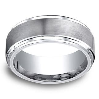 Cobalt Men's 9mm Satin Center and High-polish Step-down Beveled Edge Comfort Fit Ring|https://ak1.ostkcdn.com/images/products/10664232/P17729684.jpg?impolicy=medium