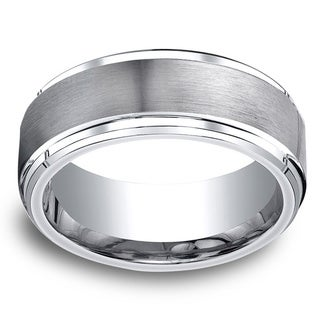 Cobalt Men's 9mm Satin Center and High-polish Step-down Beveled Edge Comfort Fit Ring
