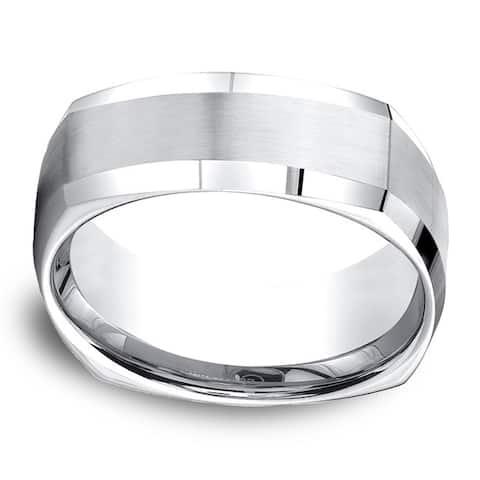 Cobalt Men's 9mm Comfort Fit Satin Finish 4-sided Ring