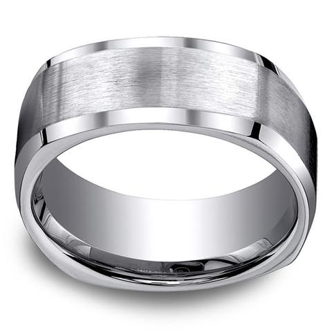 Titanium Men's 9mm Comfort Fit 4-sided Ring - White
