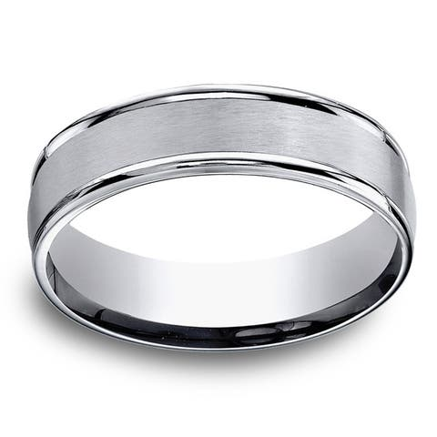 Men's 6mm Titanium Satin Finish Comfort Fit Ring - White