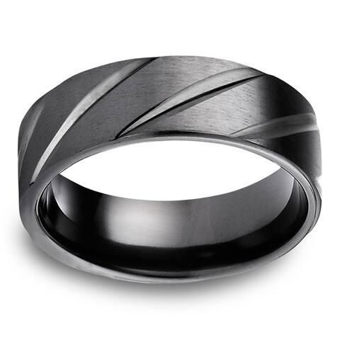 Black Titanium Men's Satin Finish and High-polish Diagonal Cut 7.5mm Comfort Fit Ring