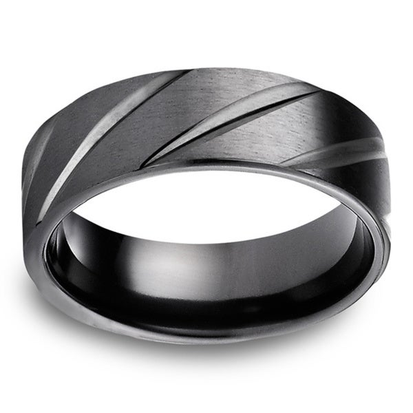 Black Titanium Men's Satin Finish and High-polish Diagonal Cut 7.5mm Comfort Fit Ring. Opens flyout.