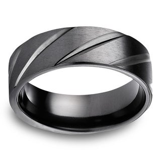 Black Titanium Men's Satin Finish and High-polish Diagonal Cut 7.5mm Comfort Fit Ring