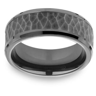 Black Titanium Men's Hammered Black Cobalt Center 8mm Comfort Fit Ring