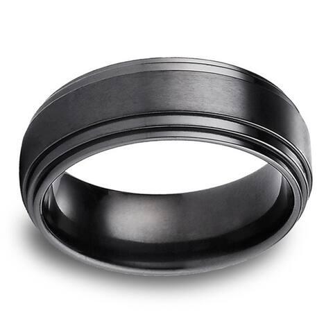 Black Titanium Men's Satin Finish Center 8mm Comfort Fit Ring