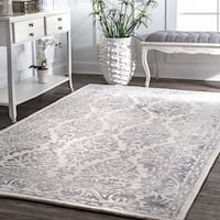 nuLOOM Handmade Dip Dyed Damask Wool Light Grey Rug - 8'6 x 11'6