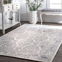 nuLOOM Light Grey Handmade Dip Dyed Damask Wool Area Rug - 8'6 x 11'6