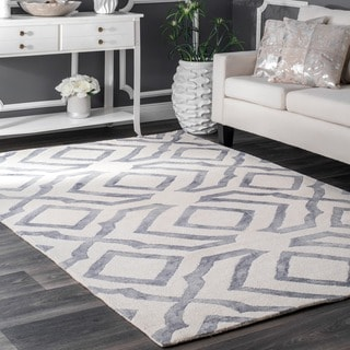 nuLOOM Contemporary Handmade Abstract Wool Light Grey Rug (8'6 x 11'6)