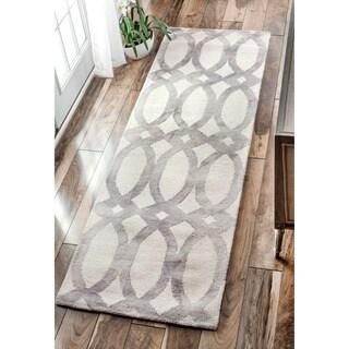 nuLOOM Handmade Dip Dyed Geometric Wool Light Grey Runner Rug (2'6 x 8') - 2'6 x 8'